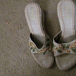 Bamboo Becca-01 beaded wedge heeled sandals